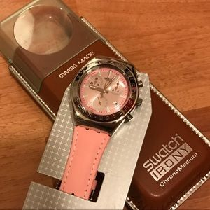 Swatch pink leather belt watch